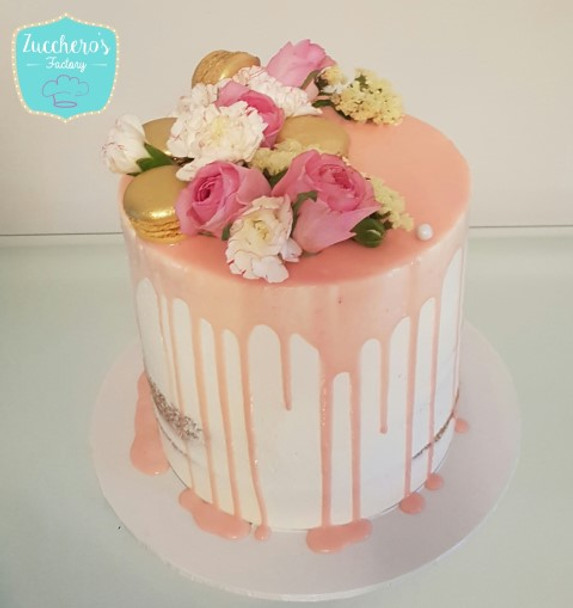 Pale Pink Floral Drip Cake