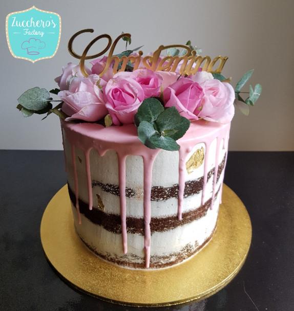 Christening Semi Naked Cake