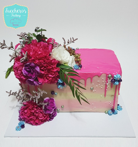 Rectangular floral cake