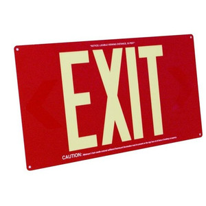 Fulham FLPL50SR Photoluminescent Red Exit Sign 50ft One Face