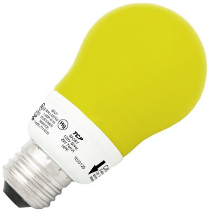 TCP 8A08Y 8W A19 Yellow Bug Dimmable CCFL Self Ballasted Lamp