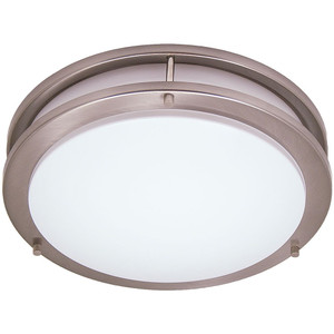 "27W LED 14"" 2-Light Saturn Style Brushed Nickel Flushmount Round Light Fixture 2700K"