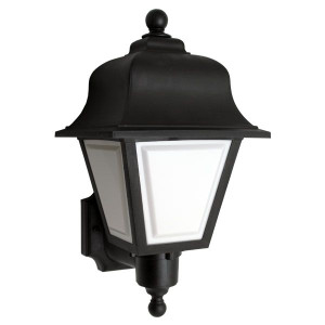 100W Equal 2700K LED Traditional Black Lantern Wall Mount Security Light