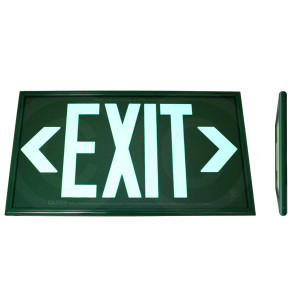 Fulham FLPL50SGG Photoluminescent Green Exit Sign 50ft One Face