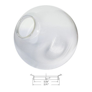 """Replacement Clear 18"""" Outdoor Prismatic Acrylic Post Globe Cover 