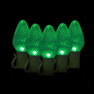 Green Ice Prism Crystal LED C7 Xmas 50 Decorative Light Strand