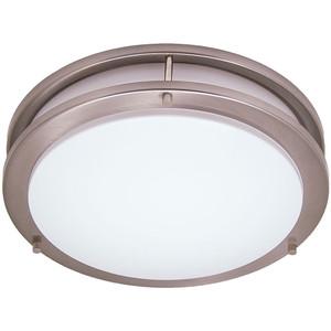 "18W 16"" 2-Light Saturn Style Brushed Nickel Flushmount Round Light Fixture 2700K"