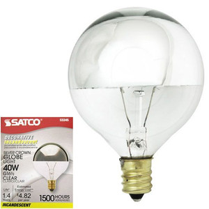 Satco S3245 40W G16 1/2 Silver Crown Globe Vanity E12 Light Bulb