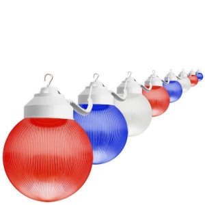 10 Red White Blue Globe  July 4th Home Patio Light String 38ft