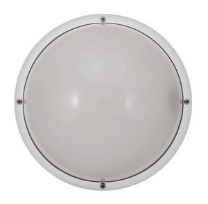 "22W LED Frosted Lens White Outdoor 10"" Round Dual Mount Fixture 4000K"