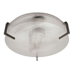 12 Inch 9.5W LED Circular Modern Ceiling Fixture Brushed Nickel Accents Clear Prismatic Acrylic Lens 3000K