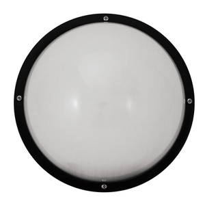 "22W LED Frosted Lens Black Outdoor 10"" Round Dual Mount Fixture 4000K"