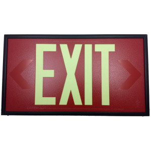 Fulham FLPL50SRB Photoluminescent Red Exit Sign 50ft One Face
