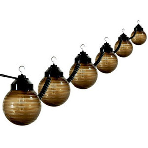 6 Light Outdoor Striped Bronze Globe String Light Set