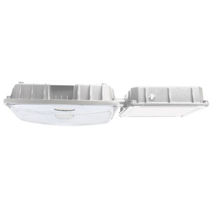 White Emergency LED Parking Garage Canopy Fixture with Battery Back-Up