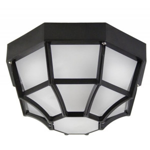 Black Spider Web Octagon with Frosted Diffuser Outdoor Flush Mount