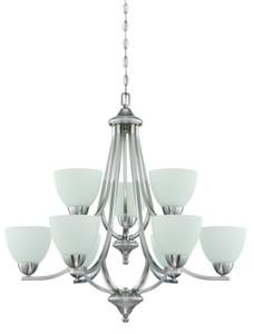 Sunset Lighting F16089-80 Preston Opal Etched Glass 9 Light 2-Tier Chandelier