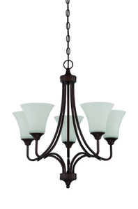 Sunset Lighting F18055-64 Darby Opal Etched Glass 5 Light Chandelier