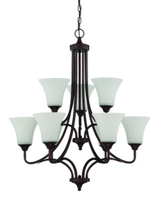 Sunset Lighting F18059-64 Darby Opal Etched Glass 9 Light 2-Tier Chandelier