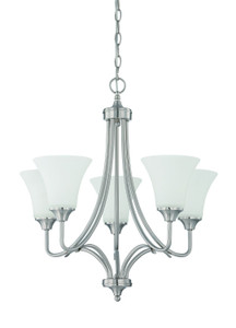 Sunset Lighting F18055-80 Darby Opal Etched Glass 5 Light Chandelier