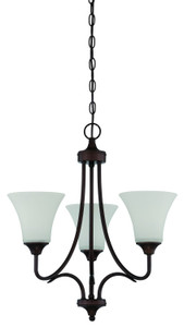 Sunset Lighting F18053-64 Darby Opal Etched Glass 3 Light Chandelier
