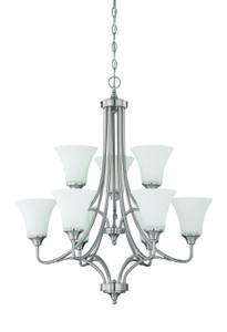 Sunset Lighting F18059-80 Darby Opal Etched Glass 9 Light 2-Tier Chandelier