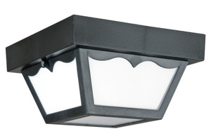 "Sunset Lighting F4343-31 Black 1 Light Outdoor 8"" Wide Fluorescent Flush Mount Ceiling Fixture"