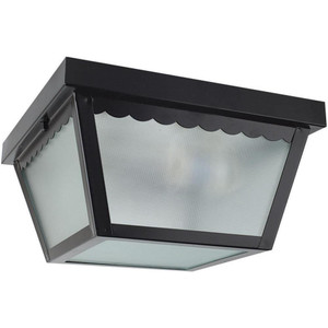 "Sunset Lighting F2402-31 Black 2 Light Outdoor 10"" Wide Flush Mount Ceiling Fixture"