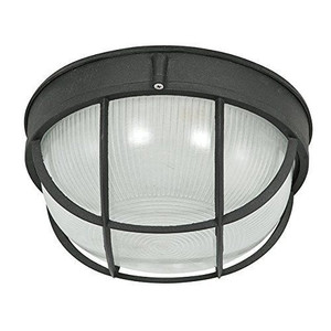 "Sunset Lighting F7987-31 Black 1 Light Outdoor Cast Aluminum 10"" Wide Flush Mount Ceiling Fixture"