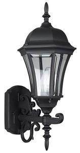Sunset Lighting F7857-31 Clear Beveled Glass 1-Light Black Cast Aluminum Lantern
