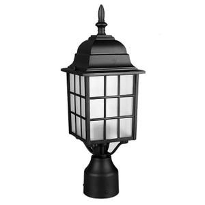 Sunset Lighting F7817-31 Textured Frosted Glass 1-Light Black Cast Aluminum Lantern