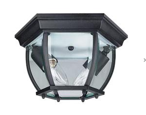 Sunset Lighting F7898-31 Clear Beveled Glass 2-Light Black Cast Aluminum Lantern