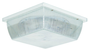 Sunset Lighting F9027-30 Clear Prismatic Acrylic Glass LED Ceiling Mount White Exterior Light