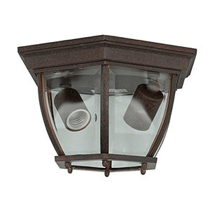 Sunset Lighting F7898-62 Clear Beveled Glass 2-Light Rubbed Bronze Cast Aluminum Lantern