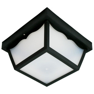 Black Outdoor Square Plastic Paneled Flush Ceiling Light with Photocell