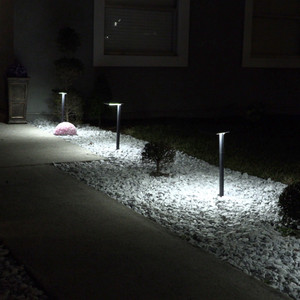 Contemporary Square Solar Path Light with 3 Ground Stake Mounting Options