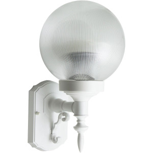 Decorative 18W CFL White Outdoor Wall Fixture Clear Prismatic Globe Lens 3500K
