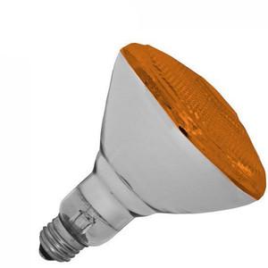 Halco 100W BR 38 130V Amber Indoor Outdoor Flood Lamp 404112