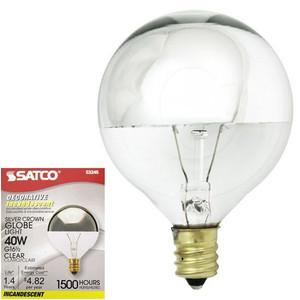 Satco S3245 40W G16 1/2 Silver Crown Globe Vanity E12 Light Bulb
