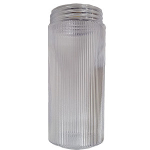 """Replacement 8.5"""" Clear Ribbed Plastic Cylinder Threaded Light Fixture Jar"""