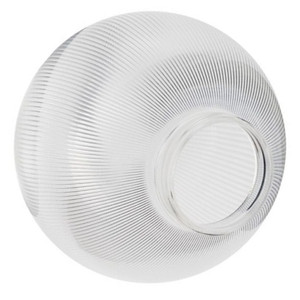 """Clear Prismatic 8"""" Plastic Light Globe with Threaded Screw Neck"""