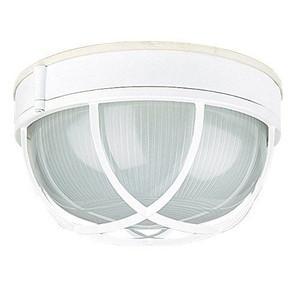 "Sunset Lighting F7987-30 White 1 Light Outdoor Cast Aluminum 10"" Wide Flush Mount Ceiling Fixture"