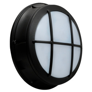 Commercial Outdoor LED Bulkhead with Battery Back Up Cross Grill