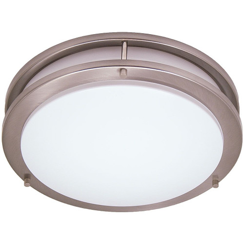 """11W LED 14"""" Saturn Style Brushed Nickel Flushmount Round Light Fixture 3000K"""