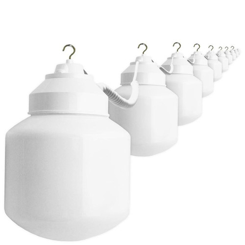 10 White Cylinder Globe Home Patio Light String RV Awning 38ft