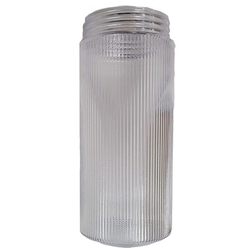 "Replacement 8.5"" Clear Ribbed Plastic Cylinder Threaded Light Fixture Jar"
