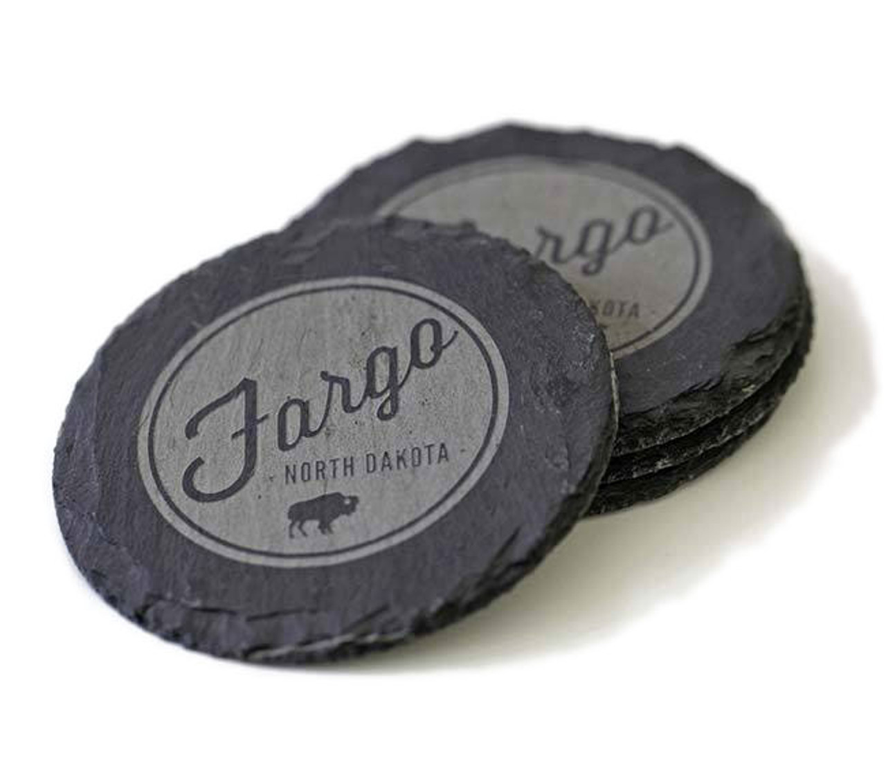 Slate Coasters With Fargo ND Bison Logo