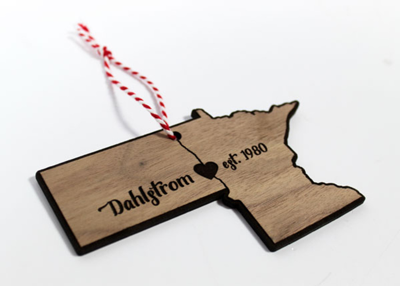 Wood Christmas Decorations.Wooden Nd Mn State Ornament Personalized