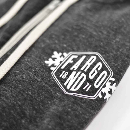 23f985dceeb1 Fargo 1871 Snowflake Zip Down Hooded Sweatshirt (Charcoal) - Fargo Stuff