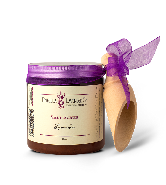 Temecula Lavender Co. Lavender Salt Scrub with Wooden Scooper (12 oz.) Lavender with grape seed oil and sea salt to create a body scrub that exfoliates and leave your skin incredibly soft. Comes in a 12 oz. jar with a wooden scooper.